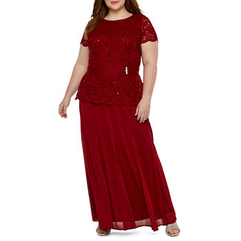 Onyx Short Sleeve Lace Embellished Evening Gown-Plus