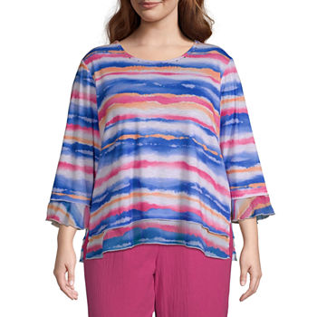 Alfred Dunner Laguna Beach Womens Plus Round Neck 3/4 Sleeve T-Shirt