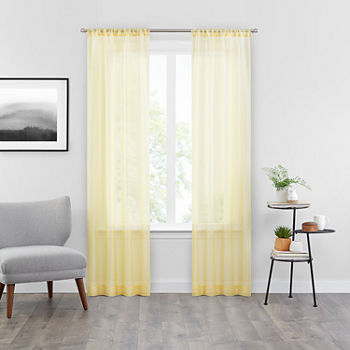 Vue Snow Sheer Rod-Pocket Set of 2 Curtain Panel
