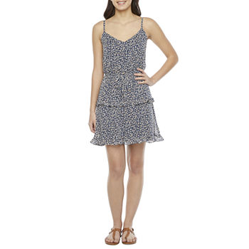by&by Sleeveless Floral A-Line Dress-Juniors