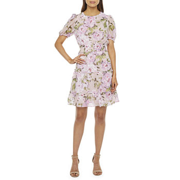 Donna Ricco Short Sleeve Floral Fit & Flare Dress