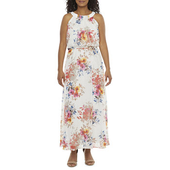 Robbie Bee-Petite Sleeveless Floral Maxi Dress