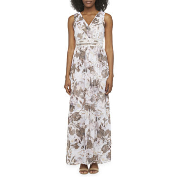 R & M Richards Sleeveless Floral Embellished Evening Gown