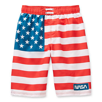 Mad Engine Little & Big Boys Striped Swim Trunks