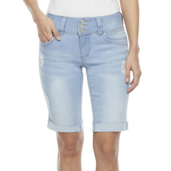 "Ymi Womens High Rise Stretch 11"" Bermuda Short-Juniors"