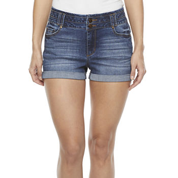 "Blue Spice Womens High Rise 2 1/2"" Denim Short-Juniors"