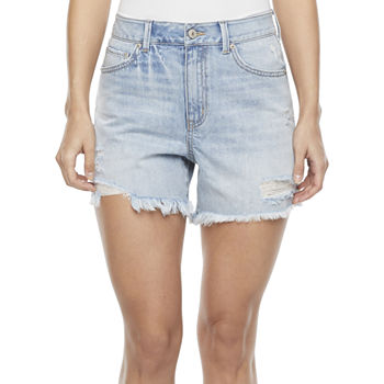 "Rewash Womens High Rise 5"" Denim Short-Juniors"