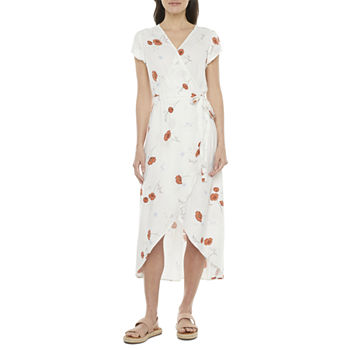 a.n.a Short Sleeve Floral High-Low Wrap Dress