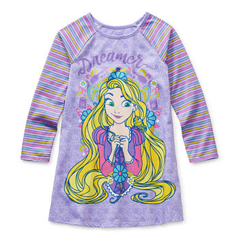 Disney Collection Little & Big Girls Knit Tangled Long Sleeve Round Neck Nightshirt