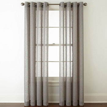 elm west curtains solid curtain of set weave frost gray products mesh o open sheer