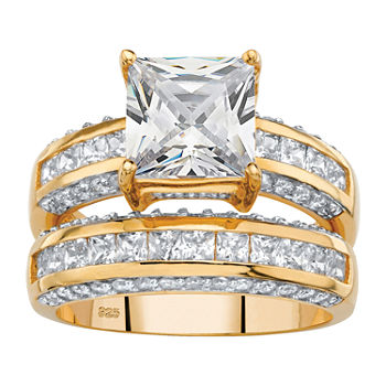 DiamonArt® Womens 3 1/4 CT. T.W. White Cubic Zirconia 14K Gold Over Silver Bridal Set
