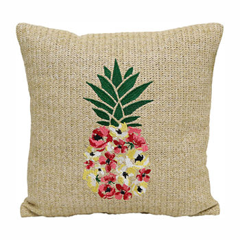 Brentwood Originals Floral Pineapple Square Outdoor Pillow