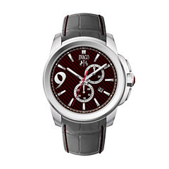 Jivago Gliese Mens Red Dial and Gray Leather Strap Watch