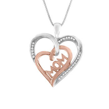 "1/10 CT. T.W.  Diamond ""MOM"" Heart Necklace in Sterling Silver and 14KT Rose Gold Over Silver"