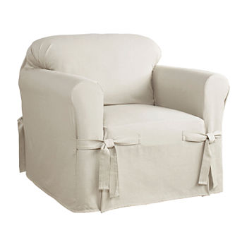 Outstanding Serta Relaxed Fit Duck Cloth Chair Slipcover Machost Co Dining Chair Design Ideas Machostcouk