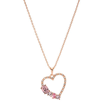 Sparkle Allure 14k Rose Gold Over Brass Cable Pink Heart Pendant Necklace Made With Swarovski Elements