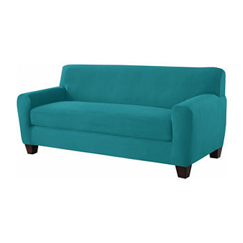 Surprising Serta Stretch Fit Microsuede Sofa Slipcover Beatyapartments Chair Design Images Beatyapartmentscom