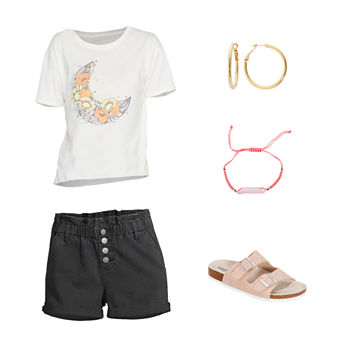 JUNIORS' MOON TEE/PAPERBAG SHORT: Floral Moon Tee, Paperbag Shorts & Arizona Sandals