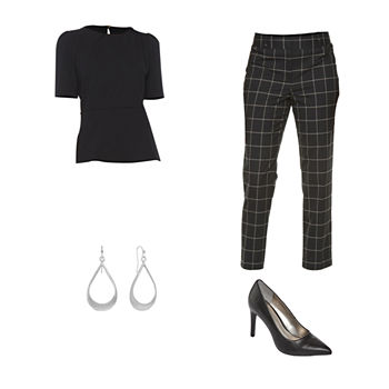 LIZ BLACK PEPLUM TOP/EMMA PANT: Liz Claiborne Scuba Peplum Top, Ankle Pants & Stiletto Pumps