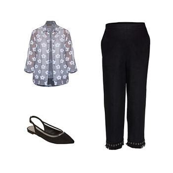 BLACK/WHITE DUNNER: Alfred Dunner Layered-Look Top, Lace-Fringe Capris & Worthington Flats