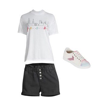 JUNIORS' FRIENDS TEE/PAPERBAG SHORT: Friends Tee & High-Rise Paperbag Shorts & Sneakers