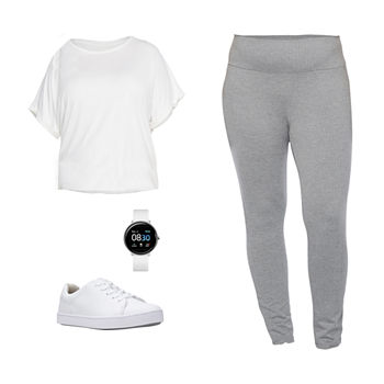 PLUS STYLUS WHITE TEE/GRAY LEGGING: Stylus Plus Sandwash Tee, Leggings & Sneakers