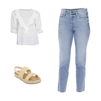 WHITE YOKE TOP/HR STRAIGHT JEAN: a.n.a. Ruffle Blouse, Sraight Leg Jean & Wedge Sandals