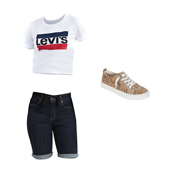 LEVIS WHITE TEE/SHORT: Levis Graphic Tee, Long Short & Slip-on Shoe