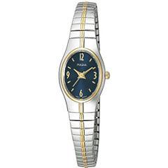 Pulsar® Womens Blue Dial Two-Tone Dress Watch PC3090