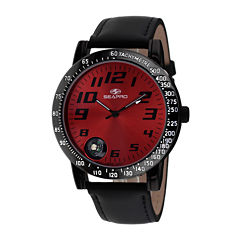 Seapro Mens Raceway Red Dial Black Leather Strap Watch