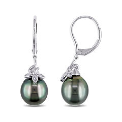 Genuine Black Tahitian Pearl and Diamond Accent 10K White Gold Earrings