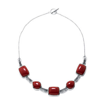 Simulated Red Jasper Sterling Silver Necklace