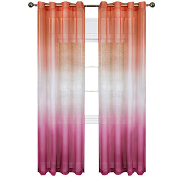 Rainbow Sheer Grommet-Top Single Curtain Panel