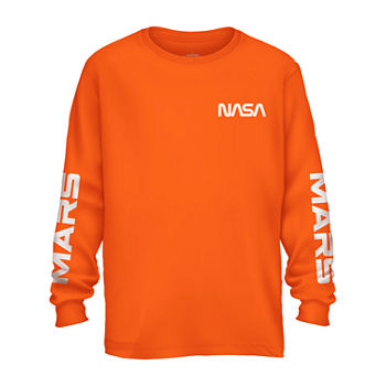 Mens Crew Neck Long Sleeve Graphic T-Shirt