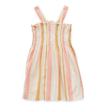 Okie Dokie Toddler Girls Sleeveless Striped A-Line Dress