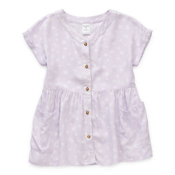 Okie Dokie Toddler Girls Short Sleeve Cap Sleeve Peasant Dress