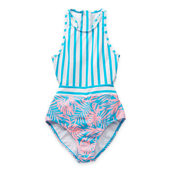 Arizona Little & Big Girls Striped One Piece Swimsuit