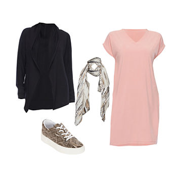 STYLUS ROSE DRESS: Stylus Woven Dress, Animal Scarf & Sneakers