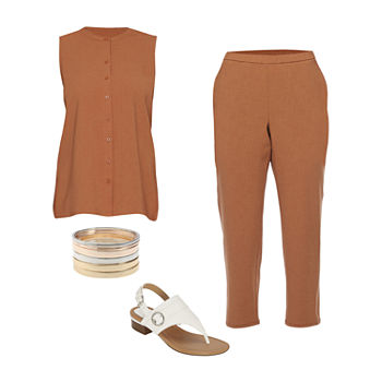 LIZ SIERRA BROWN SET: Liz Woven Tunic Top & Lantern Pant Set with Heeled Sandals
