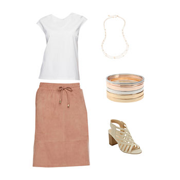 LIZ WHITE/CINNAMON TAUPE: Liz Dolman Top, Suede Skirt & Heeled Sandals