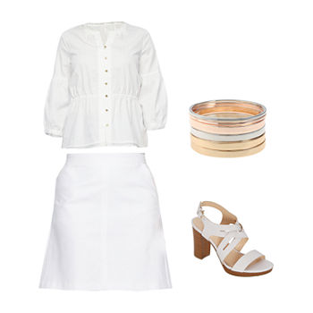 LIZ WHITE STIPE/WHITE SKIRT: Liz Henley Blouse, A-Line Skirt & Heeled Sandals