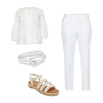 LIZ WHITE FEM SHIRT/WHITE EMMA ANKLE: Liz Henley Blouse, Slim Ankle Pants & Strap Sandals