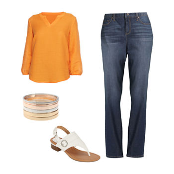LIZ BISHOP TOP/GIRLFRIEND JEAN: Liz Henley Dobby Blouse, Girlfriend Jeans & Heeled Sandals