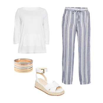 LIZ WHITE VNECK/NAVY STRIPE PANT: Liz Tunic Top, Striped Linen Pant & Strap Sandals