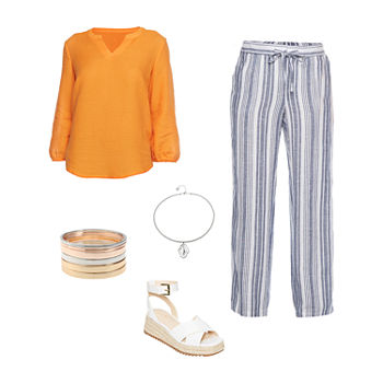 ORANGE SLV TOP/LINEN PANT: Liz Bishop Sleeve Top, Striped Linen Pants & Strap Sandals