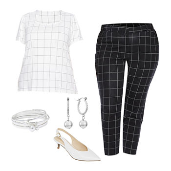 LIZ PLUS WHITE/BLACK PLAID: Plus Liz Square Neck Top, Plaid Ankle Pant & Kitten Heel Pumps