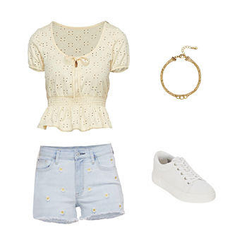 AZ PEPLUM/SHORT: Arizona Eyelet Peplum Shirt, Hi Rise Shorts & Sneakers