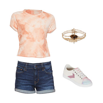 AZ RIB TEE/SHORTY SHORT: Arizona Ribbed Baby Tee, Mid Rise Short & Tie Dye Sneakers