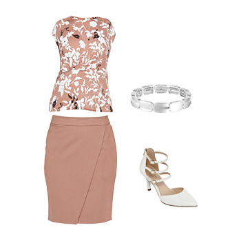 LIZ TAUPE FLORAL TOP/WRAP SKIRT: Liz Peplum Top, Wrap Skirt & Spike Heels