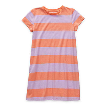 Arizona Little & Big Girls Short Sleeve Striped T-Shirt Dress